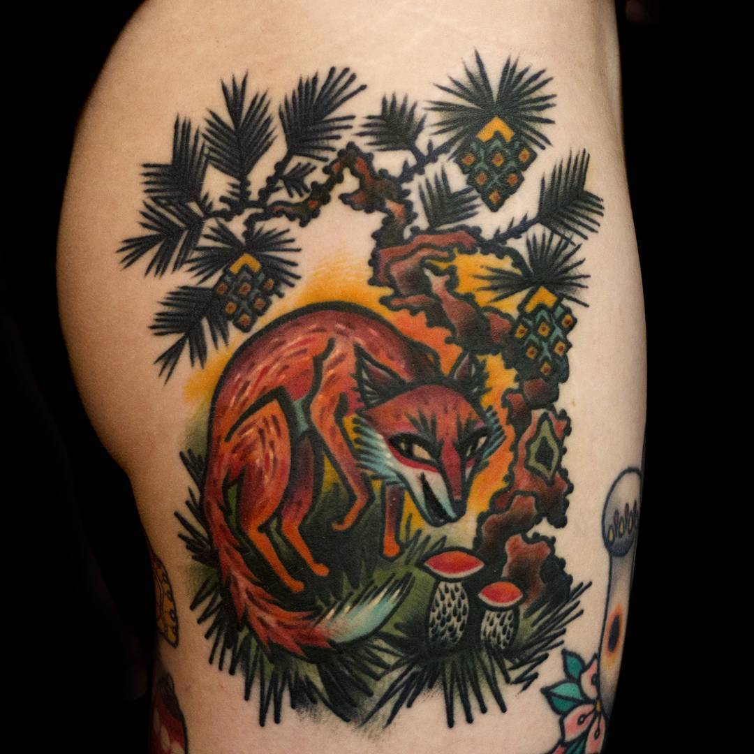 A fox under the pine tree. Healed tattoo, some small details in the eyes are fresh. Thank you Henna