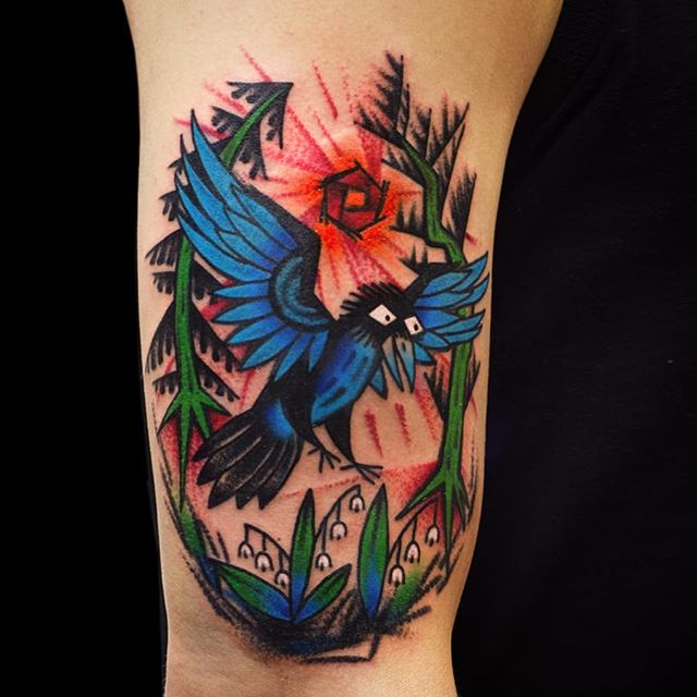 A crow landing in the forest. Thanks!  tattoohelsinki