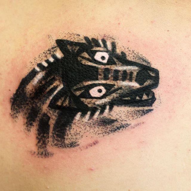 Walk in wolf tattoo, tribute to Hermann Hesse Steppenwolf novel. Thanks!